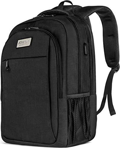 Rucksack For Men & Women USB - Slim Travel Laptop Backpack with Power Pack Charging USB Port for iPhone iPad MacBook or Notebook - Backpacks for Men (B-black)