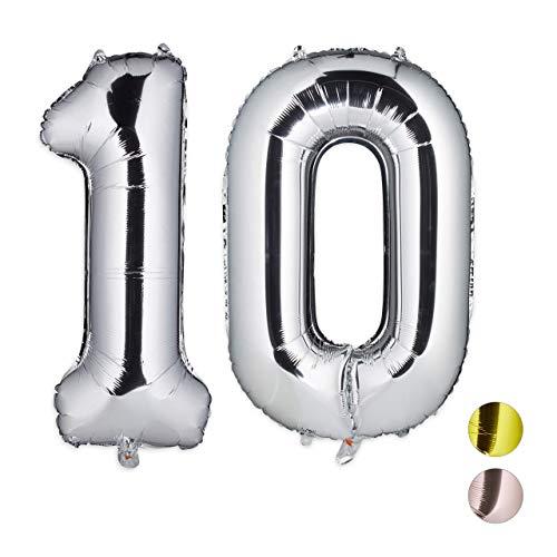 Hinchable 110 cm Globo N/úmero Gigante en Metalizado Ideal para Fiesta de cumplea/ños y Aniversarios Arco Iris, 5