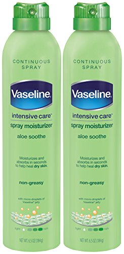 Vaseline Intensive Care Spray Moisturizer, Aloe Soothe 6.5 oz, Twin Pack