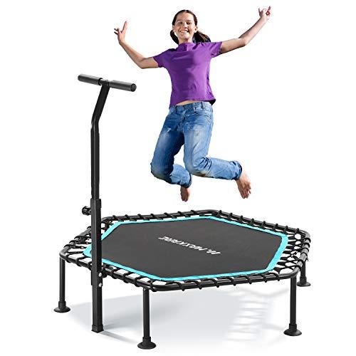 MaxKare Mini trampolín para niños Fitness Rebounder Trampoline Hexágono para adultos Ejercicio con mango ajustable de espuma, diseño trenzado silencioso para niños pequeños al aire libre en el hogar