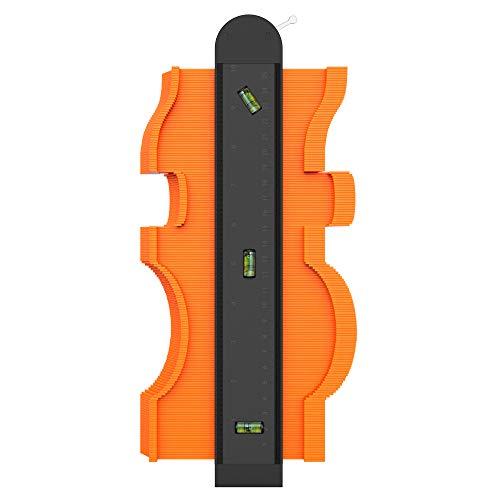 Yesoair 型取りゲージ 気泡管搭載 最大測定範囲が巾255�o、奥行75�o ロック機能付き CMとInchの目盛り付き ABSプラスチック製 軽量 防錆 耐久性が高い 日曜大工用品 DIY用便利工具