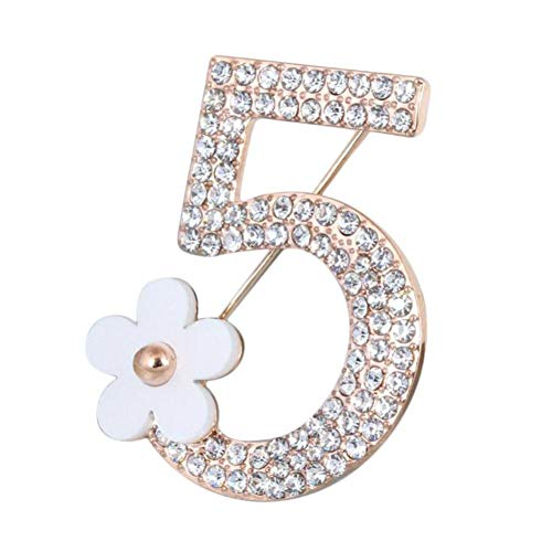 Zonfer 1pc Brooch Pin Number Five Pin Brooch Corsage Scarf Pin Rhinestones Breastpin for Wedding Banquet Bouquet (white)
