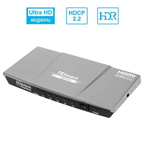 HDMIスプリッター 1入力4分配 HDMI分配器 1×4 HDMIセレクター 4K60Hz 4:4:4 HDMI Splitter 手動 切り替え 2.0 HDR10 HDCP2.2 EDID認識対応 1 in 4 out 4出力同時 HDDレコーダー、