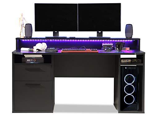 moebel-eins TEZO III Gaming Tisch Schreibtisch Jugendschreibtisch Kinderschreibtisch Schülerschreibtisch Zeichentisch Pult inkl. LED-Beleuchtung bunt, Material Dekorspanplatte