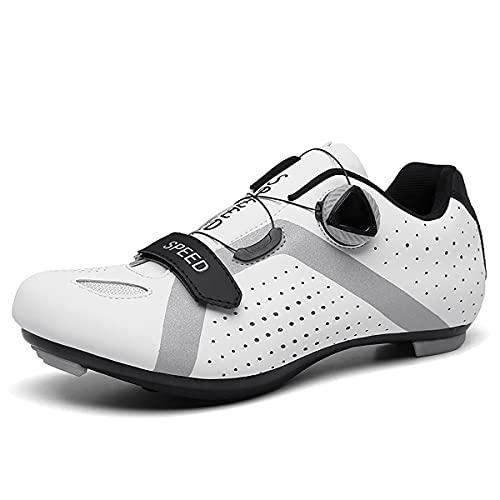 XTZLTY Zapatos De Ciclismo para Hombres, Zapato De Bicicleta De Giro con Calzado Compatible SPD Transpirable Zapatos De Ciclo Al Aire Libre para Unisex,Blanco,39