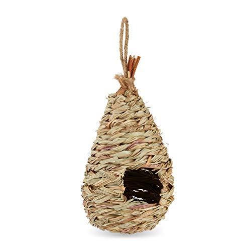 Relaxdays Casetta per Uccelli, da Appendere, Giardino, Balcone, Paglia, Intrecciato, Nido Artificiale 29x12 cm, Naturale
