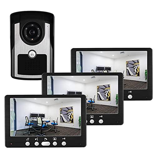 Timbre con video, intercomunicador, sistema de entrada de puerta con cable, kit de seguridad para el hogar con videoportero de 7 pulgadas, visor de puerta, cámara + 3 monitores