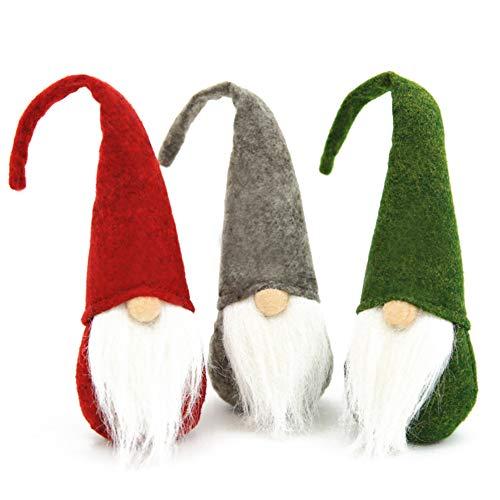 VGOODALL Weihnachten Deko Wichtel, 3 Schwedischen Weihnachtsmann Santa Tomte Gnom Skandinavischer Zwerg für Weihnachten Geschenk Deko