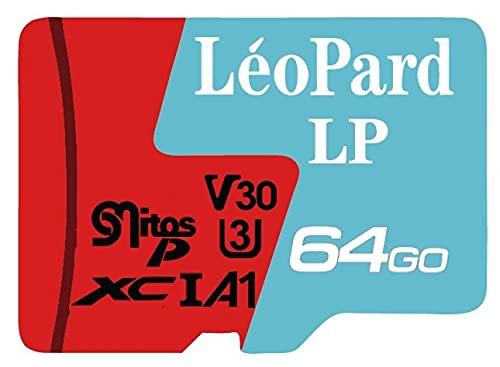 LéoPard - Scheda di memoria LP da 64 GB, micro SDXC, trasferimento rapido delle classi UHS-1, U3, V30 e A1, velocità di lettura fino a 90 MB/s e scrittura fino a 45 MB/s, adattatore SD in omaggio.