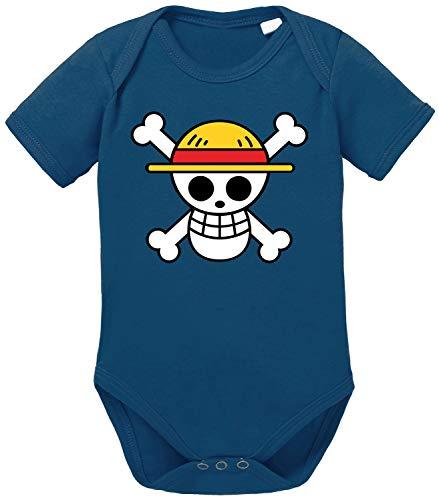 Logo Straw Hat One Baby Strampler Piece Bio Baumwolle Body Jungen & Mädchen 0-12 Monate, Größe:68/4-6 Monate, Farbe:Dunkel Blau