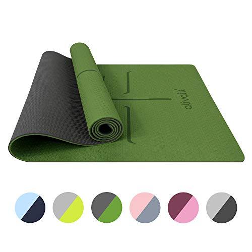 ATIVAFIT TPE Gymnastikmatte, rutschfeste Yogamatte Fitnessmatte Trainingsmatte Sportmatte für Fitness Pilates & Gymnastik mit Tragegurt - Maße 183 * 64 * 0.6 cm (Grün)