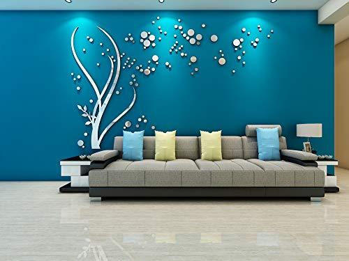Kunst 3D Spiegel Blume Wandaufkleber DIY Home Wandtattoo Dekoration Sofa TV Wand Abnehmbare Wandaufkleber (Silber links)