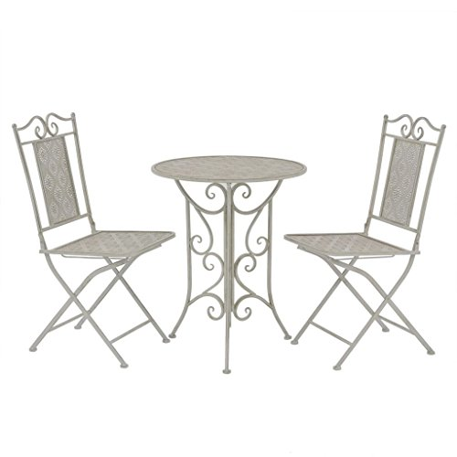 Lingjiushopping Set de table et chaises Bistro de jard ¨ ªn 3 pièces Gris acier dimensions de la table : 60 x 76 cm (di ¨ ¢ Metro X hauteur)