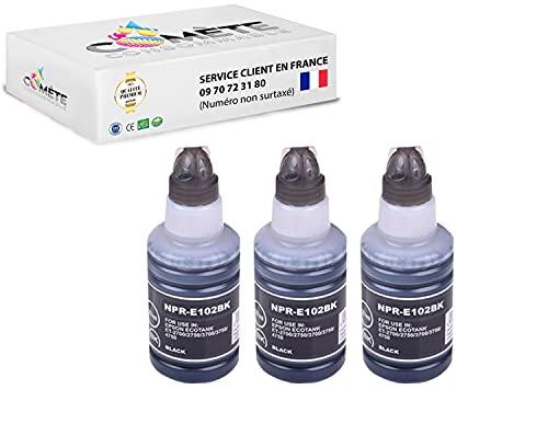 Comete - 3 botellas de tinta para Epson ET-15000 ET-2700 ET-2750 ET-2751 ET-2756 ET-3700 ET-3750 ET-4750 ST-2000 ST-3000 ST-4000 (3 unidades), color negro
