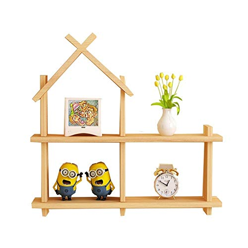GJX Floating Shelves Wall Shelf Solid Wood WallMounted Creative Lattice Storageshelf Bookcase Decor Display Shelves-Small House Clapboard (two Colors Are Optional) (Color : Wood color)