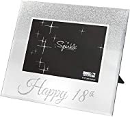 Happy 18th Mirrored Silver Glitter Photo Frame 6 x 4 Inch Aperture A Perfect Birthday Gift! Dimensions: 18 x 21.5 cm