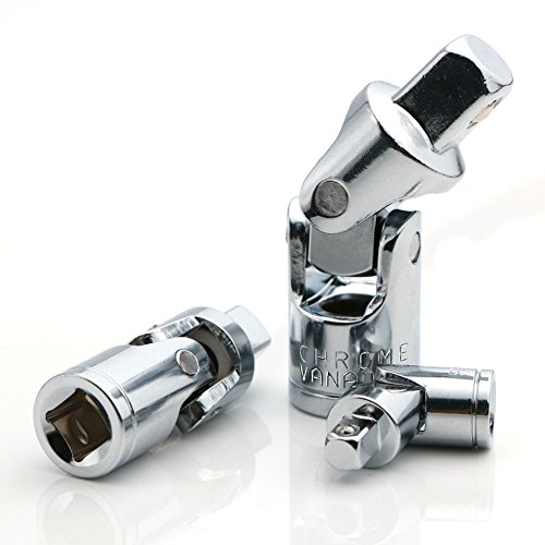 Universal Joint Set, Joint Adapter Ratchet Socket, Universal Sleeve Manual Tool Designed for All The Hexagonal Side Handle, 1/4-Inch, 3/8-Inch, 1/2-Inch Drive Set, 3-Piece, Chrome Vanadium Steel