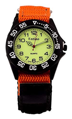 Entino Unisex-Sport-Armbanduhr Analoganzeige Japanisches Quarzwerk mit schwarzem Nylonband, E-NTS (Orange)