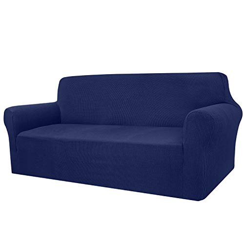 Granbest High Stretch Sofa Covers 2 Seater Super Soft Loveseat Cover Universal Couch Covers Jacquard Sofa Cover for Dogs Non Slip Furniture Protector Machine Washable (2 Seater, Navy Blue)