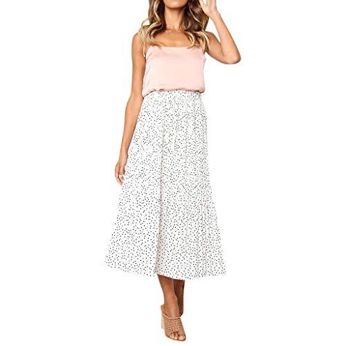 kolila Damen Retro Röcke Sommer Womens Mode Vintage Blumendruck Hohe Taille Langer Rock Kleid(Weiß,M)