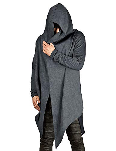 Men Long Coat with Hood Long Cardigan Cotton Shawl Cardigans Dark Grey XXL