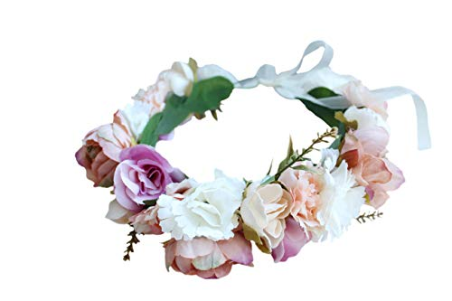 Boho Flower Crown Floral Headband Garland Hair Wreath Hair Garland Flower Halo Floral Headpiece with Ribbon Wedding Party Festival Pink by Brikuinr
