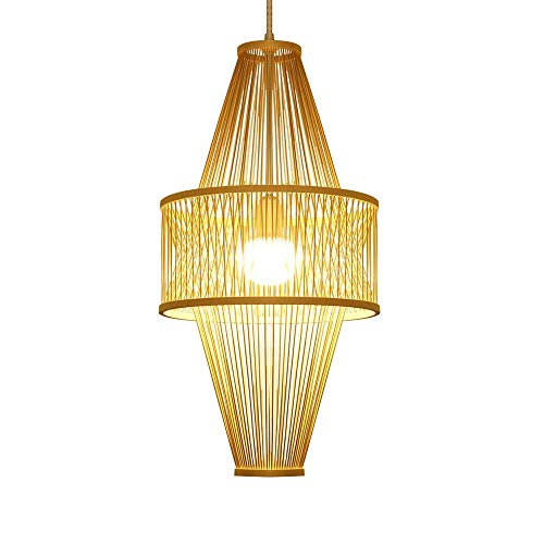 ZGZRXGY Chino Estilo Linterna Forma Colgante iluminación sudeste asiático Estilo Restaurante lámpara Estilo japonés Estilo Simple bambú araña casa e27 Fuente de luz luz de Ahorro de energía