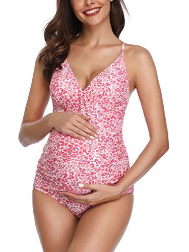MiYang Women Maternity Swimsuit Flower Printed Criss Back One Piece Pregnant Beachwear Pink M