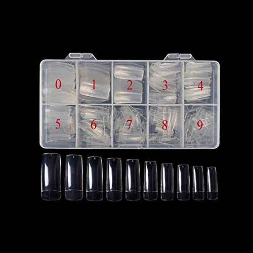 500 Piezas Uñas Postizas Francesa, 10 Tamaños Tips Ovales de Natural Translúcido Francé, Uña Falsa Artificial de Acrílico Puntas con Caja para Mujeres Niñas (Transparente)
