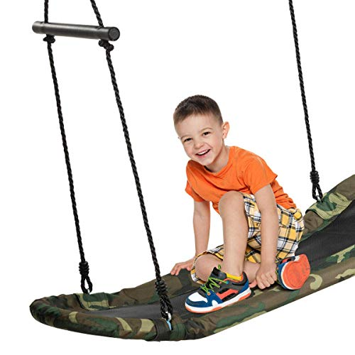 Costzon Saucer Tree Swing, Hanging Platform Rope Tree Swing w/ Soft Padded Edge, Adjustable Height, Surfing Swing w/ Handles, for Kids Adult Indoors Outdoors
