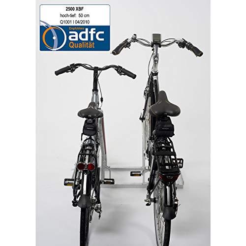 Fahrradständer, Anlehnparker, Tief-/Hocheinstellung, Radabstand 50 cm, L: 100 cm