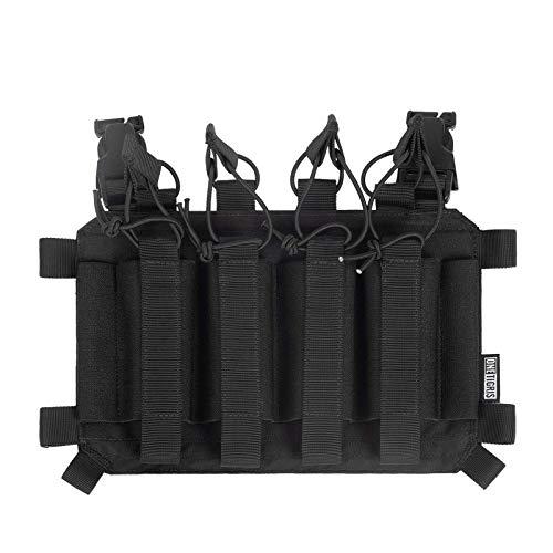 OneTigris SMG Mag Pouch con gancho en la parte trasera, póster táctico 04 para revista MP5/MP7 con correas elásticas, embalaje múltiple (negro)