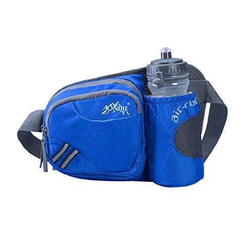 TRIWONDER Sac Banane de Sport Ceinture de Course Sac de Taille avec Bouteille d'eau pour Téléphone Running Randonnée Escalade Marathon (Bleu)
