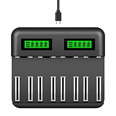 Snado AA AAA C D Battery Charger, 8 Slot Smart Fast Charger with LCD Display for AA AAA C D Ni-MH/Ni-Cd Rechargeable Batteries with USB Port Type c and Overcharge Prevention Function
