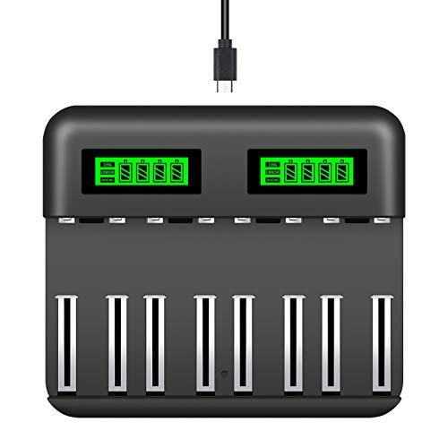 Snado Universal Akkuladegerät mit LCD Akku Ladegerät Schnell Batterieladegerät Schnellladegerät für C/D/AA/AAA/SC/NI-CD Batterie