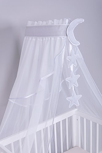Amilian® Chiffonhimmel Himmel Betthimmel Mond/Sternchen Grau (Chiffonhimmel mit Himmelstange)