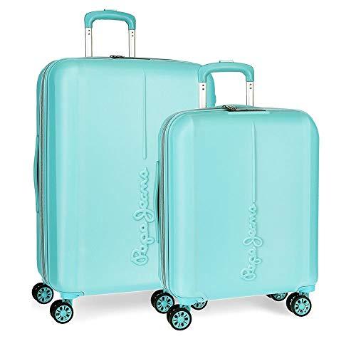 Pepe Jeans Glasgow Juego de Maletas Azul 55/70 cms Rígida ABS Cierre TSA 115L 4 Ruedas Dobles...