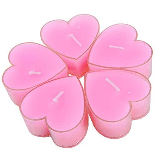 Depory 9X Kerze Teelicht Love Heart Kerze schwimmend rauchfrei romantische Kerze Duftkerze für Valentinstag Hochzeit Dekoration Party Gastgeschenke Pink