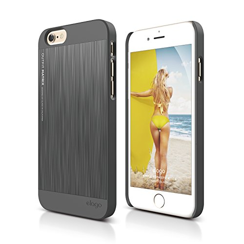 elago Outfit Matrix Aluminum and Polycarbonate Dual Case for The iPhone 6/6S Plus (5.5inch) + HD Professional Screen Film Included - Full Retail Packaging (Dark Grey/Dark Grey)