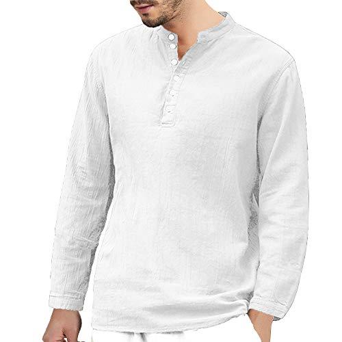 DNOQN Running Shirt Herren T Shirt Lange ärmel Herren Baggy Baumwolle Leinen Langarm...