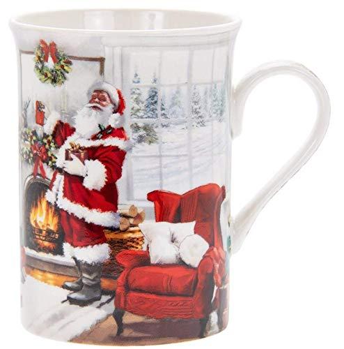 LEONARDO Weihnachten Geschenkkarton Fein China Becher/Tasse 10cm Weihnachtsmann und Weihnachtsbaum