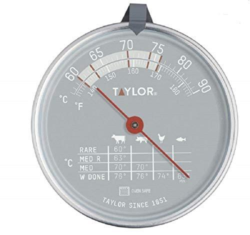 Taylor Pro Termómetro de Horno para Carne, Indicador de Temperatura con Sensor Apto para Horno, adecuado para Carne, Pescado y Barbacoa, Sensor con Tabla de Cocción, Acero Inoxidable