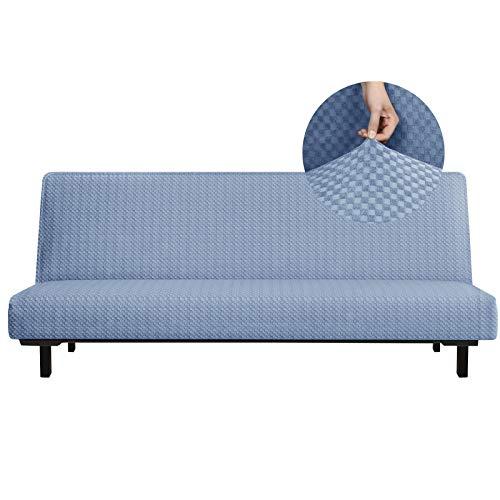 YEMYHOM - Funda para futón con diseño de Jacquard de Alta Elasticidad, sin Brazos, para sofá Cama, Protector Antideslizante para Muebles con Fondo elástico (futón, Azul Claro)