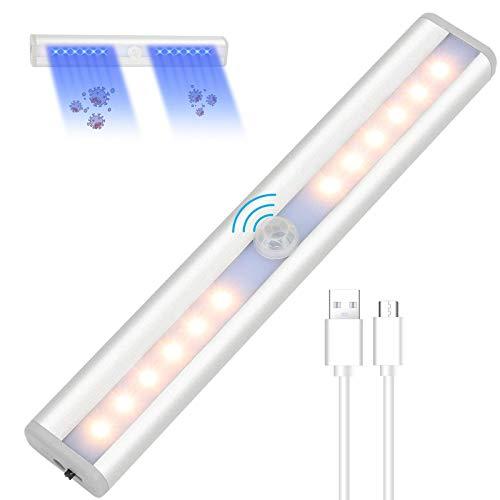 Luci Armadio con Sensore di Movimento, UV Sterilizzazione Intelligente Ultravioletta 200s, 24 LED, Per Armadi, Corridoi, Scale Luce per Armadio USB Ricaricabile/Luce Calda