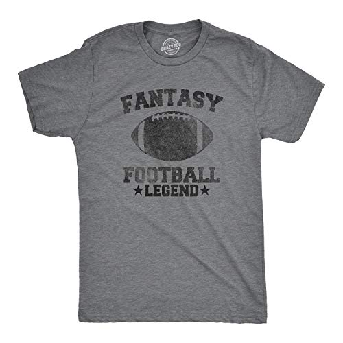 Mens Fantasy Football Legend Funny T Shirt Season Novelty Graphic Dad Gameday (Dark Heather Grey) - L
