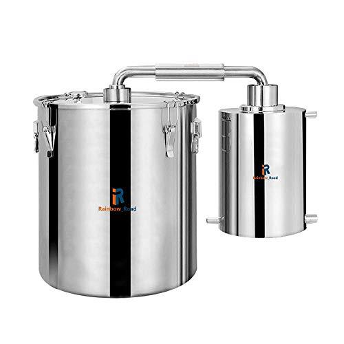 Destilador de Alcohol de Agua para el hogar de 50 l Moonshine Still con Sistema de enfriamiento Doble Kit de preparación para el hogar con termómetro de Bomba de Agua Acero inoxida