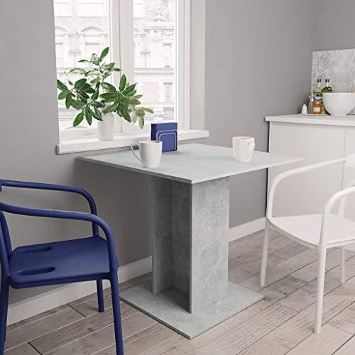 UnfadeMemory Esstisch Esszimmertisch Spanplatte Essbereich Küchentisch mit Rechteckig/Quadratisch Sockel Robuste Tischplatte Esszimmer Holztisch (Betongrau, 80 x 80 x 75 cm)