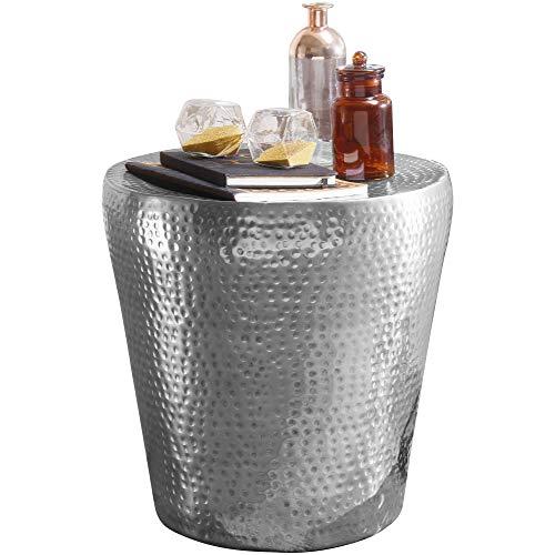 FineBuy Beistelltisch 41 x 41 x 41 cm Aluminium Dekotisch orientalisch rund | Kleiner Hammerschlag Abstelltisch | Designer Ablagetisch Metall modern | Anstelltisch schmal