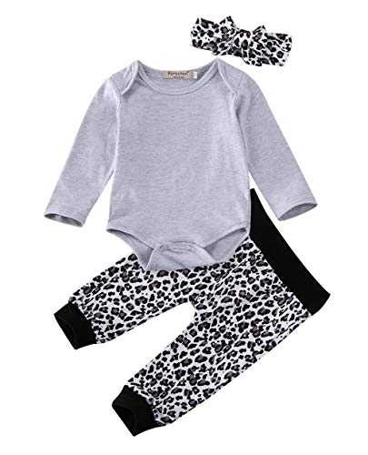 Carolilly Neugeborenes Baby Mädchen Langarm Body Romper Overalls +Leoparden Hosen Outfits Set 3Pcs Kleidung Set (0-3 Monate, Grau/Leopard)