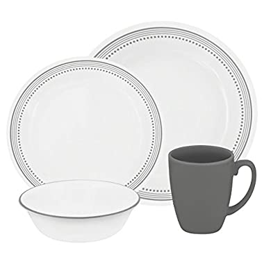 Corelle Livingware 16-Piece Dinnerware Set, Mystic Gray, Service for 4